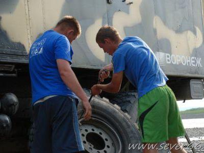 На колымском участке пробито более 20 колёс